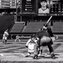 Black And White Player At Plate No Fans